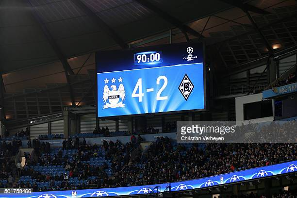 The scoreboard after the UEFA Champions League group D match between Manchester City FC and Borussia Moenchengladbach at Etihad Stadium on December...