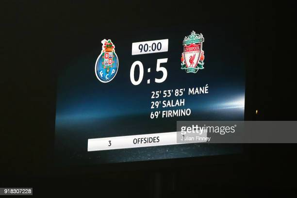 The scoreboard after the UEFA Champions League Round of 16 First Leg match between FC Porto and Liverpool at Estadio do Dragao on February 14 2018 in...