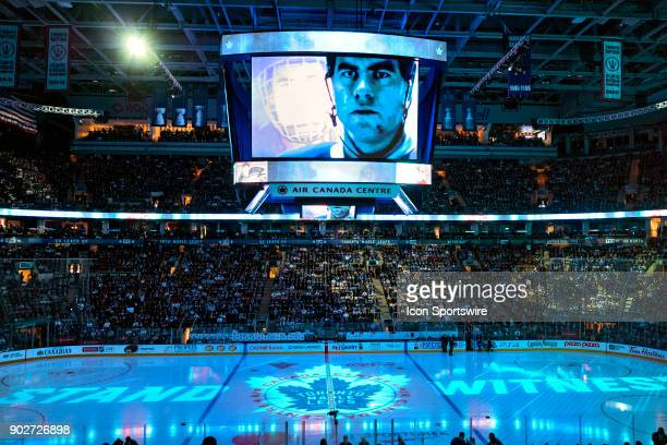 The scoreboard and lights show presentation in blue before the regular season NHL game between the Vancouver Canucks and the Toronto Maple Leafs on...