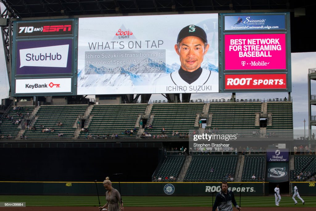 The scoreboard announces that Ichiro Suzuki #51 of the Seattle Mariners was removed from the 15-man roster and made special assistant to the chariman before a game against the Oakland Athletics at Safeco Field on May 3, 2018 in Seattle, Washington. The Mariners won the game 4-1.