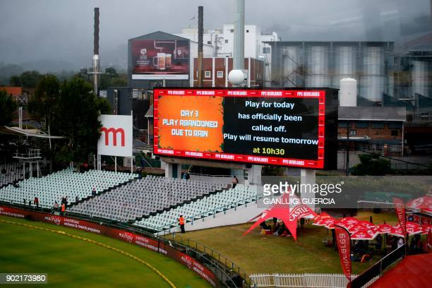 The scoreboard announces the calling off of the game during the third day of the first Test cricket match between South Africa and India at Newlands...