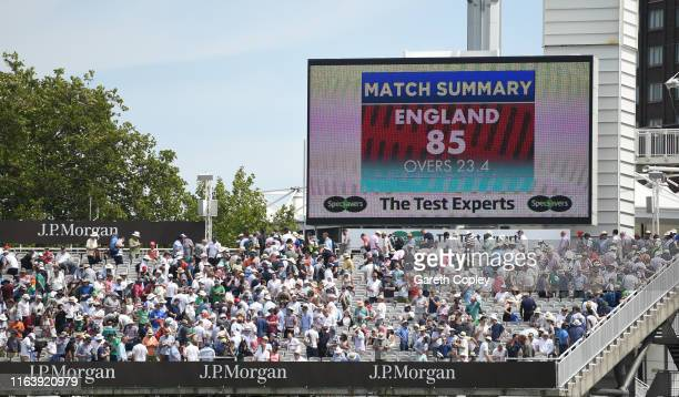 The Scoreboard as England are bowled out for 85 runs during day one of the Specsavers Test Match between England and Ireland at Lord's Cricket Ground...