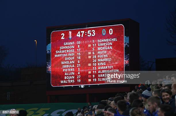 The scoreboard at Bet365 Stadium showing 6 bookings and a sending off for Leicester City during the Premier League match between Stoke City and...