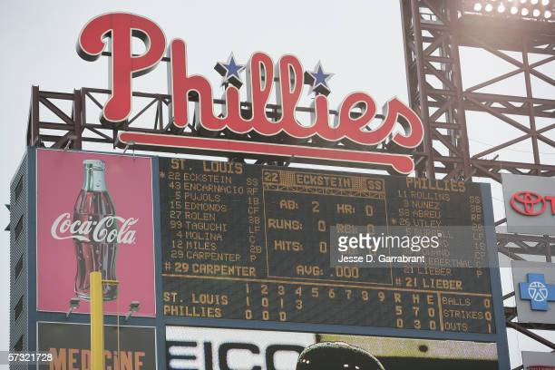 The scoreboard at Citizens Bank Park is shown during the Opening Day game between the Philadelphia Phillies and the St. Louis Cardinals on April 3,...