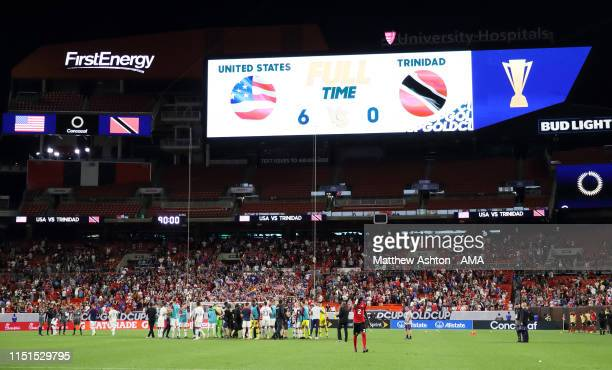 The Scoreboard at FirstEnergy Stadium home stadium of the Cleveland Browns shows the score USA 6 Trinidad and Tobago 0 during the Group D 2019...
