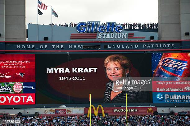 The scoreboard at Gillette Stadium honors the late Myra Kraft the wife of Patriots owner Robert Kraft who passed away before the game between the New...