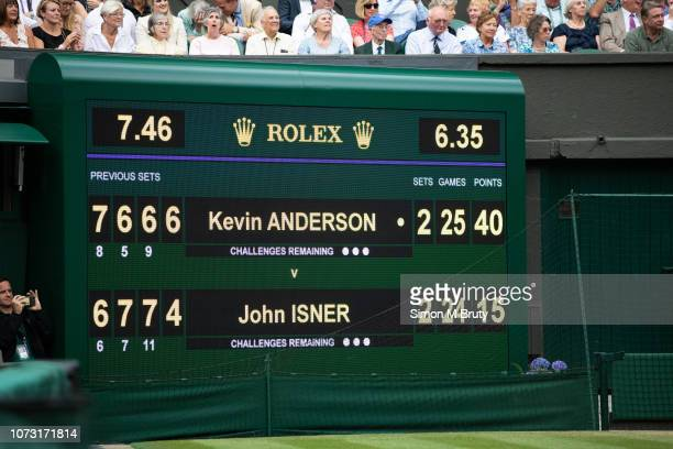 The Scoreboard at match point between Kevin Anderson from South Africa and John Isner from USA during The Wimbledon Lawn Tennis Championship at the...