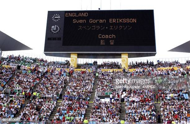The scoreboard at the Osaka Nagai Stadium displays the name of England's coach Sven Goran Eriksson