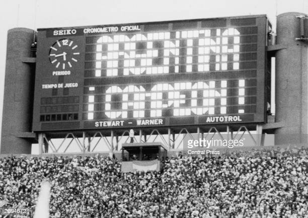 The scoreboard at the River Plate stadium announcing that Argentina have won the World Cup