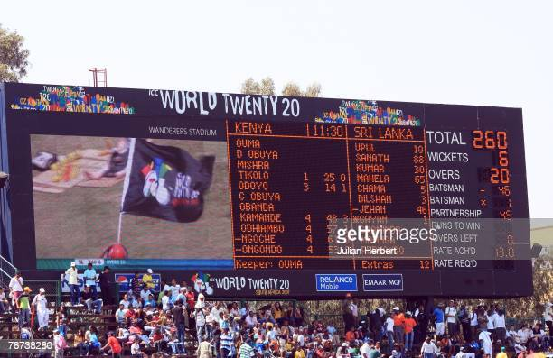 The scoreboard at The Wanderers Cricket Ground showing The Sri Lankan score during The ICC World Twenty20 Championship on September 14 2007 in...
