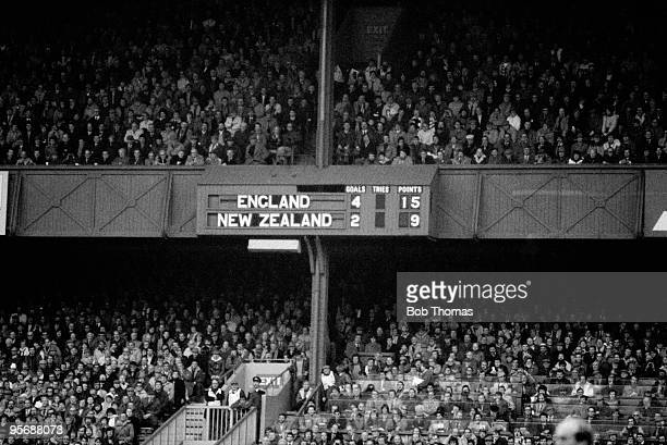 The scoreboard at Twickenham London shows the historic result England's first win over the New Zealand All Blacks in 46 years The Rugby Union...