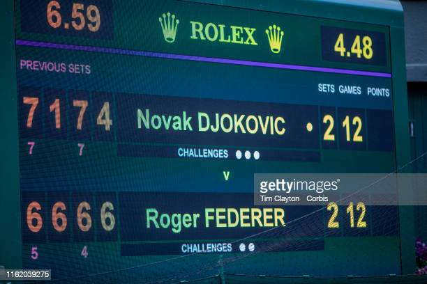 The scoreboard before the fifth set tie break during the Roger Federer of Switzerland match against Novak Djokovic of Serbia during the Men's Singles...