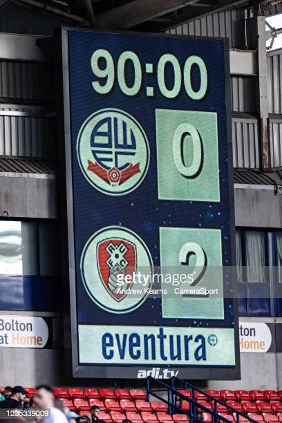 The scoreboard depicts the final scoreduring the Sky Bet League One match between Bolton Wanderers and Rotherham United at University of Bolton...