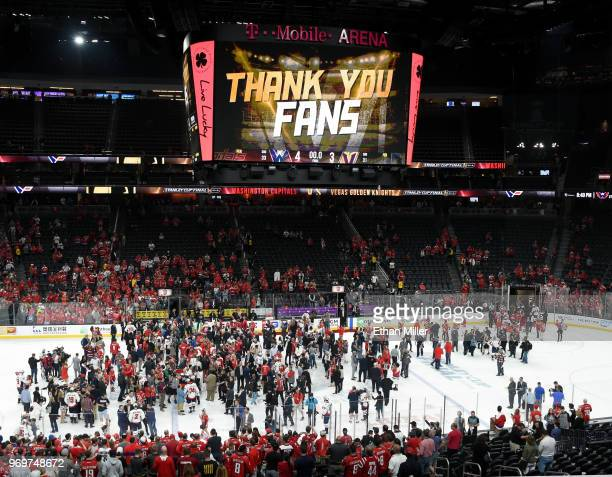 The scoreboard displays a message thanking fans along with the 43 final score of the Washington Capitals' win over the Vegas Golden Knights in Game...