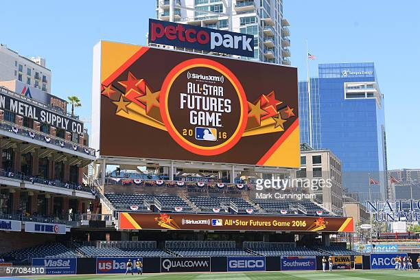 The scoreboard displays a message welcoming fans to the SiriusXM AllStar Futures Game at PETCO Park on July 10 2016 in San Diego California The World...