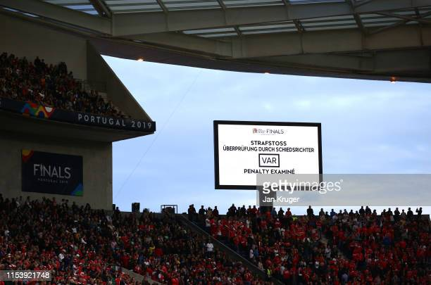 The scoreboard displays a pending VAR penalty decision during the UEFA Nations League SemiFinal match between Portugal and Switzerland at Estadio do...