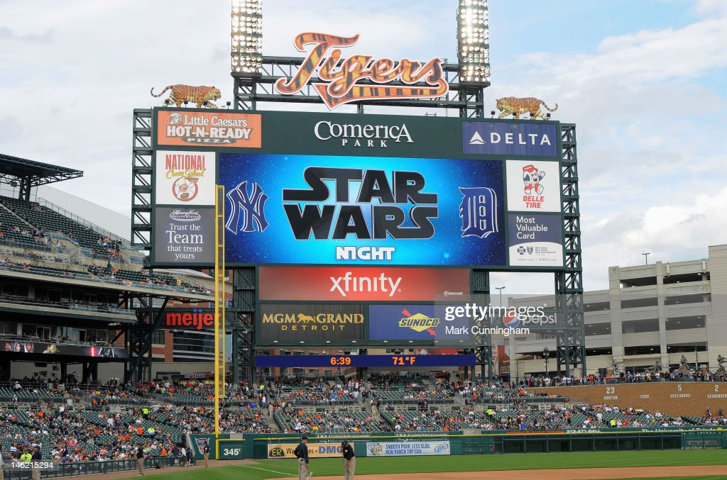 The scoreboard displays a sign welcoming fans to Star Wars Night before the game between the Detroit Tigers and the New York Yankees at Comerica Park on June 2, 2012 in Detroit, Michigan. The Tigers defeated the Yankees 4-3.