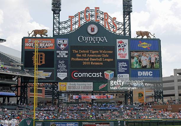 The scoreboard displays a sign welcoming the AllAmerican Girls Professional Baseball League reunion before the game between the Detroit Tigers and...