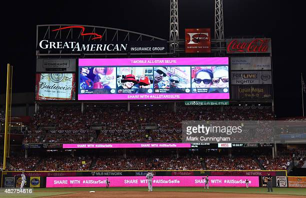 The scoreboard displays a TMobile advertisement during the 86th MLB AllStar Game at Great American Ball Park on July 14 2015 in Cincinnati Ohio The...
