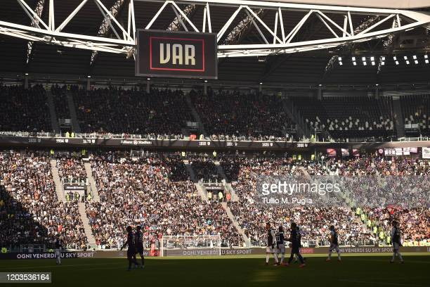 The scoreboard displays a VAR checking during the Serie A match between Juventus and ACF Fiorentina at Allianz Stadium on February 02, 2020 in Turin,...