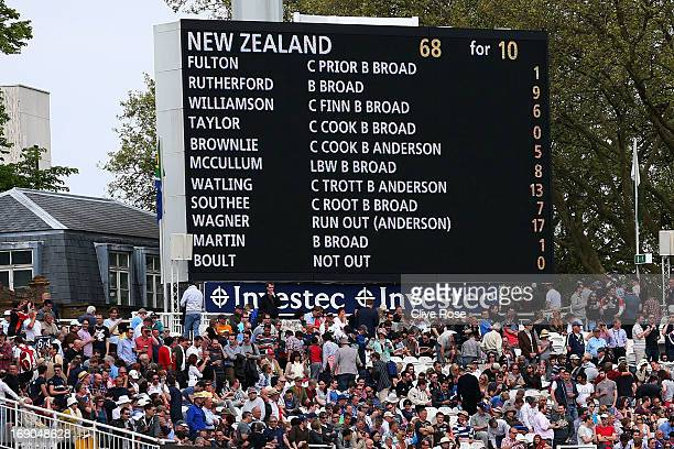The scoreboard displays New Zealand's innings at the end of the match on day four of 1st Investec Test match between England and New Zealand at...
