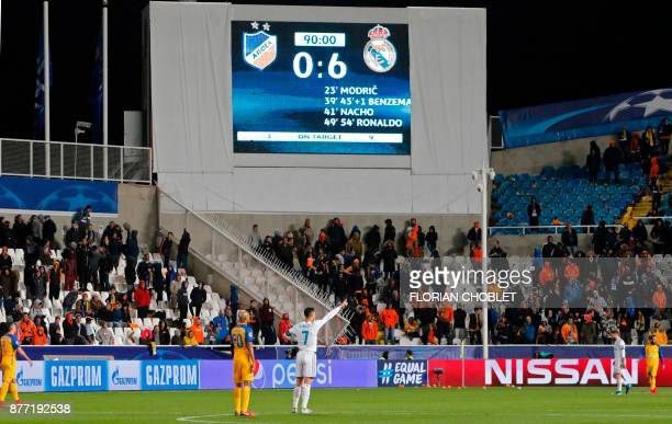 The scoreboard displays the 06 score during the UEFA Champions League Group H match between Apoel FC and Real Madrid on November 21 in the Cypriot...