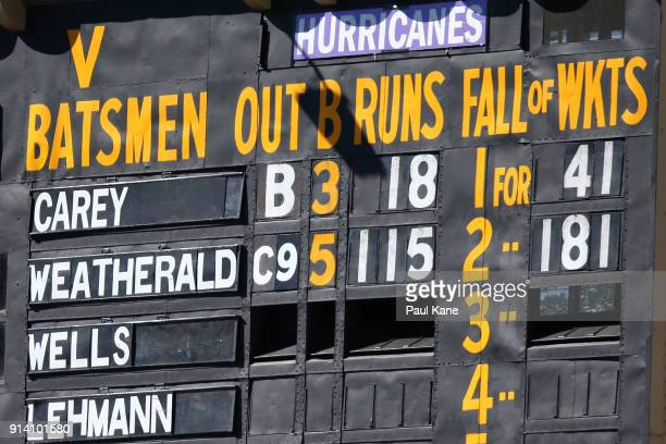 The scoreboard displays the century by Jake Weatherald of the Strikers during the Big Bash League Final match between the Adelaide Strikers and the...