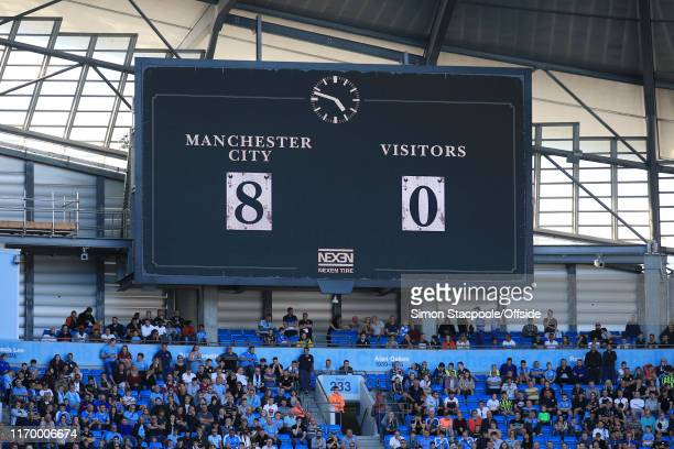 The scoreboard displays the final 80 scoreline during the Premier League match between Manchester City and Watford FC at the Etihad Stadium on...