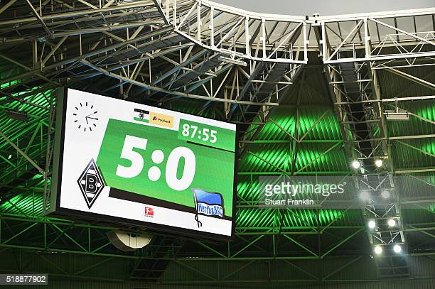 The scoreboard displays the final result after the Bundesliga match between Borussia Moenchengladbach and Hertha BSC at BorussiaPark on April 3 2016...