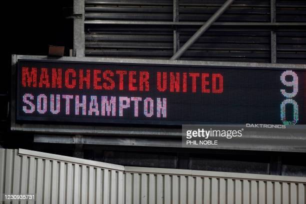 The scoreboard displays the final score after the English Premier League football match between Manchester United and Southampton at Old Trafford in...