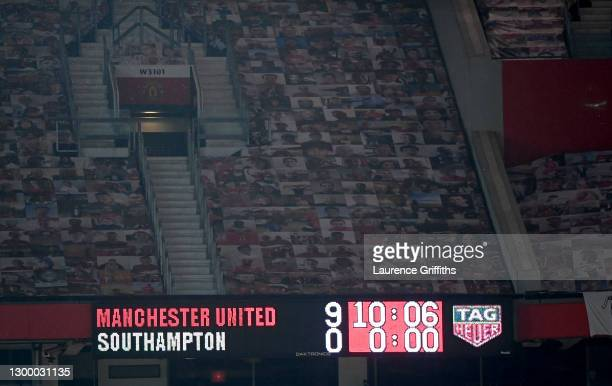 The scoreboard displays the final score following the Premier League match between Manchester United and Southampton at Old Trafford on February 02,...