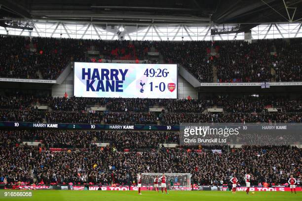 The scoreboard displays the name of goalscorer Harry Kane of Tottenham Hotspur during the Premier League match between Tottenham Hotspur and Arsenal...