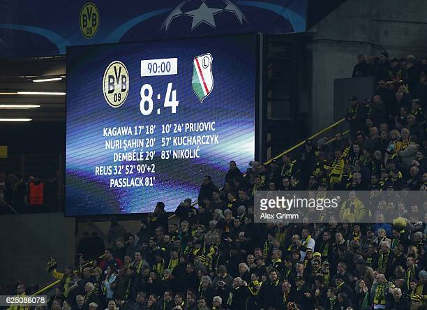 The scoreboard displays the record breaking Champions Legue score during the UEFA Champions League Group F match between Borussia Dortmund and Legia...