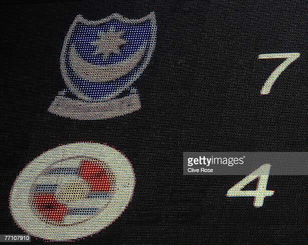 The scoreboard displays the record premiership score of 74 at the end of the Barclays Premier League match between Portsmouth and Reading at Fratton...