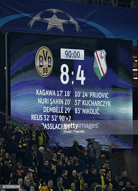The scoreboard displays the recordbreaking Champions Legue score during the UEFA Champions League Group F match between Borussia Dortmund and Legia...