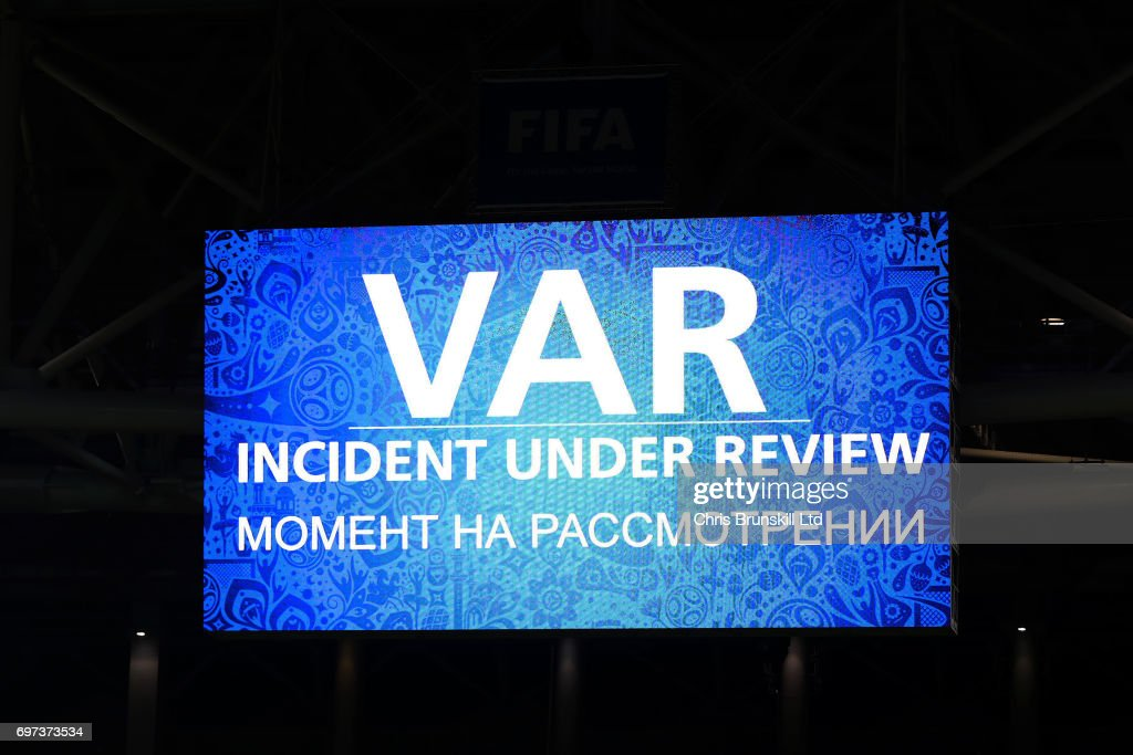 The scoreboard displays the VAR Incident Under Review notice during the FIFA Confederations Cup Group B match between Cameroon and Chile at Spartak Stadium on June 18, 2017 in Moscow, Russia.