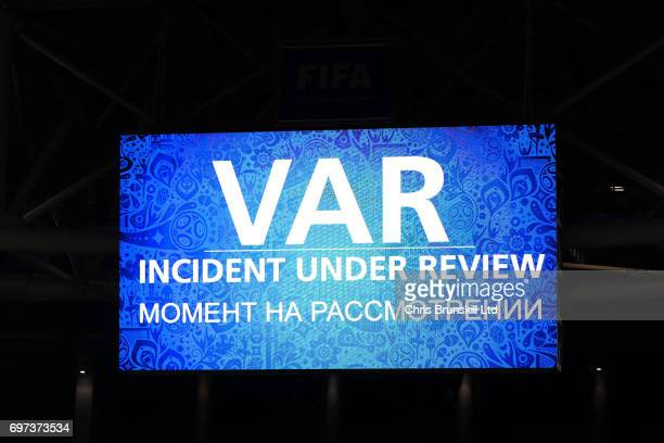 The scoreboard displays the VAR Incident Under Review notice during the FIFA Confederations Cup Group B match between Cameroon and Chile at Spartak...
