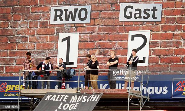 The scoreboard during the Third League match between RW Oberhausen and Jahn Regensburg at the Niederrhein Stadium on April 28 2012 in Oberhausen...