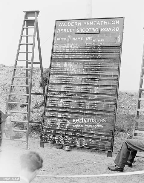 The scoreboard for the shooting during the modern pentathlon event at Bisley Surrey during the Olympic Games 2nd August 1948 Bruno Riem of...