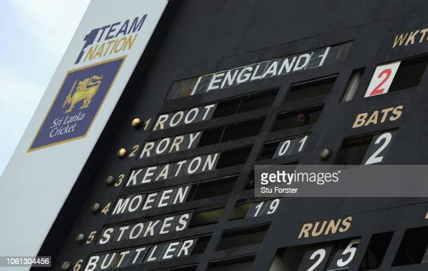 The scoreboard goes for a combination of Christian and surnames for the England team during Day One of the Second Test match between Sri Lanka and...