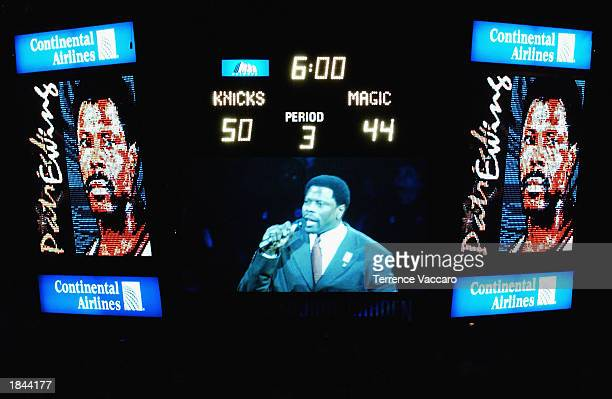 The scoreboard honors former New York Knick Patrick Ewing during halftime of the game between the Orlando Magic and the Knicks at Madison Square...