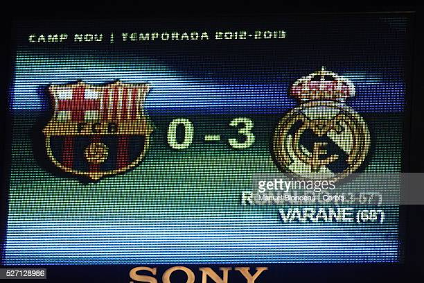 The scoreboard is pictured displaying the final score during the Spanish Copa del Rey semi-final second leg football match between FC Barcelona and...