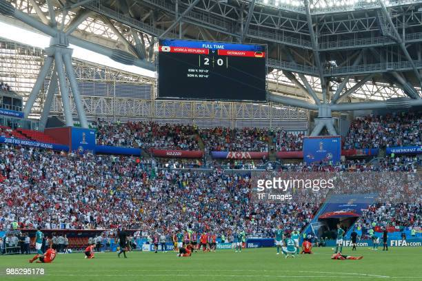 The scoreboard is seen after the 2018 FIFA World Cup Russia group F match between Korea Republic and Germany at Kazan Arena on June 27 2018 in Kazan...