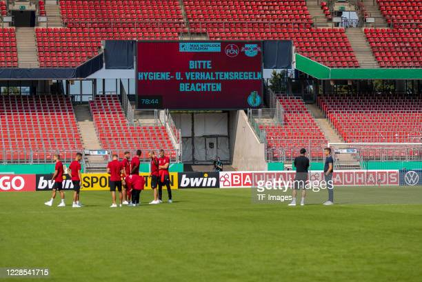 the scoreboard is seen after the DFB Cup first round match between 1 FC Nuernberg and RB Leipzig at MaxMorlockStadion on September 12 2020 in...