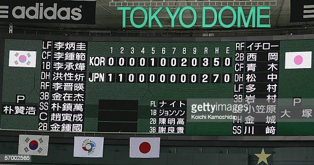 The scoreboard is seen after the game between Team Korea and Team Japan during the first round of the 2006 World Baseball Classic on March 5 2006 at...