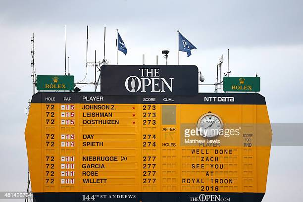 The scoreboard is seen after Zach Johnson of the United States wins the 144th Open Championship at The Old Course during a 4hole playoff on July 20...