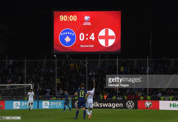 The scoreboard is seen at fulltime during the UEFA Euro 2020 Qualifier between Kosovo and England at the Pristina City Stadium on November 17 2019 in...