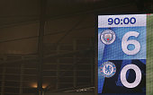 manchester england scoreboard is seen during