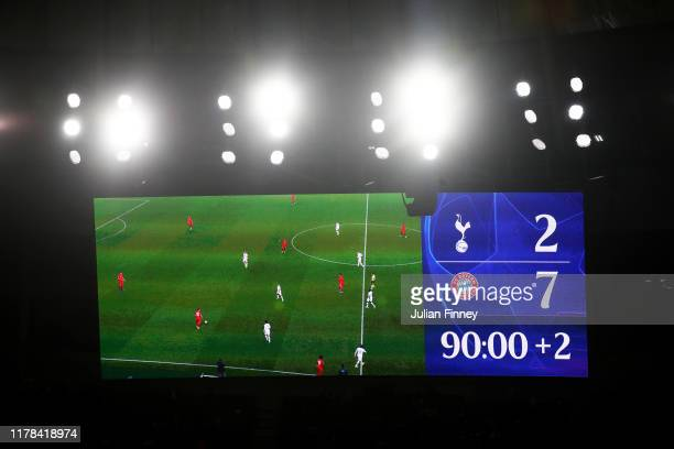 The scoreboard is seen during the UEFA Champions League group B match between Tottenham Hotspur and Bayern Muenchen at Tottenham Hotspur Stadium on...