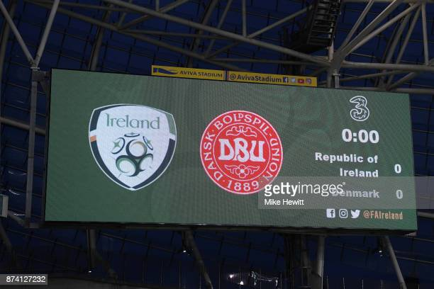 The scoreboard is seen inside the stadium prior to the FIFA 2018 World Cup Qualifier PlayOff Second Leg between Republic of Ireland and Denmark at...